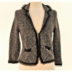 Apt 9 Black Gray Tweed Look Short Sweater Jacket